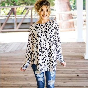 Plus size White Leopard Print Tunic Top